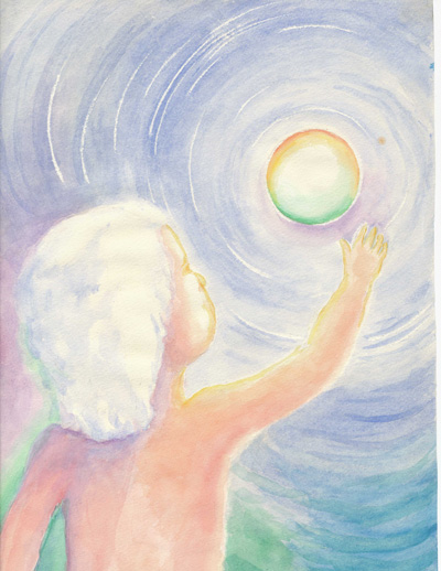 A watercolor painting of a small child reaching towards the sun.