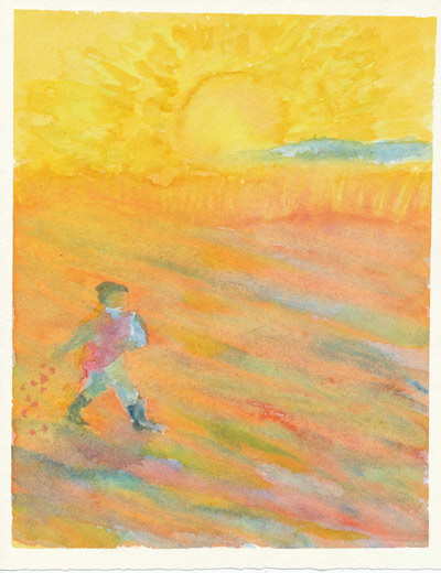 A watercolor painting of a child walking through a field dropping seeds with the sun rising in the background.